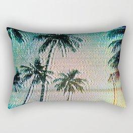 Analogue Glitch Palm Trees Sunrise Rectangular Pillow