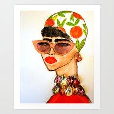 Gems and Citrus Scarf Art Print