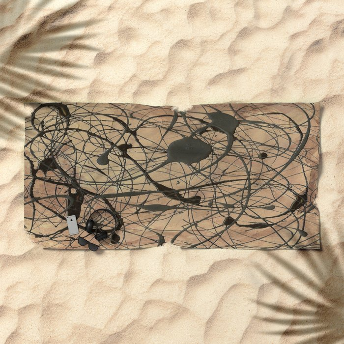 Pollock Inspired Abstract Black On Beige Beach Towel