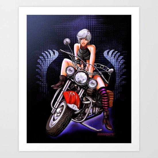 Motorcycle pinup Art Print