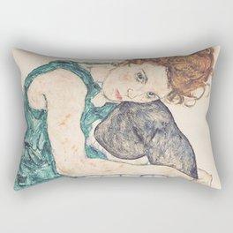 SEATED WOMAN WITH BENT KNEE - EGON SCHIELE Rectangular Pillow