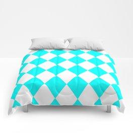 Diamonds (Aqua Cyan/White) Comforters