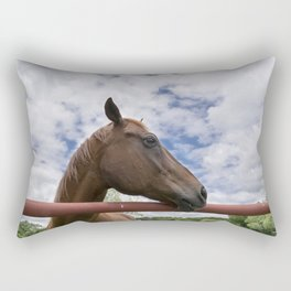 Profile of Brown Horse Looking over Fence with Clouds Rectangular Pillow