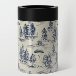 Alien Abduction Toile De Jouy Pattern in Blue Can Cooler