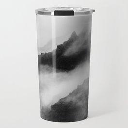 Foggy Mountains Black and White Travel Mug