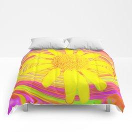 Yellow Sunflower on a Fuchsia Psychedelic Swirl Comforters