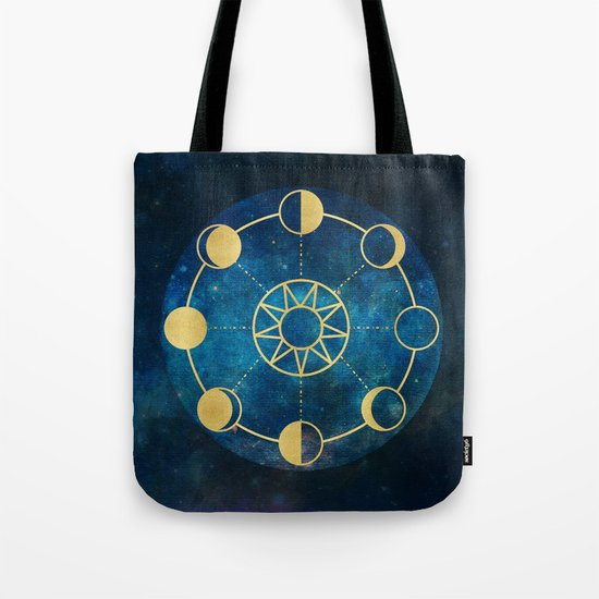 Gold Moon Phases Sun Stars Night Sky Navy Blue Tote Bag