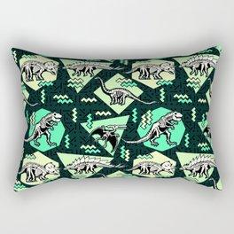 90's Dinosaur Skeleton Neon Pattern Rectangular Pillow