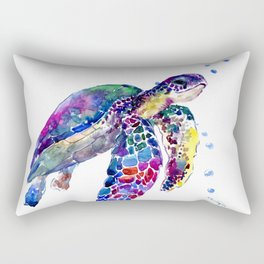 Sea Turtle Rainbow Colors, turtle design illustration artwork animals Rectangular Pillow