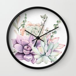 Succulents Sage + Purple Watercolor by Nature Magick Wall Clock