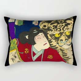 Tiger with warrior in Japan Rectangular Pillow