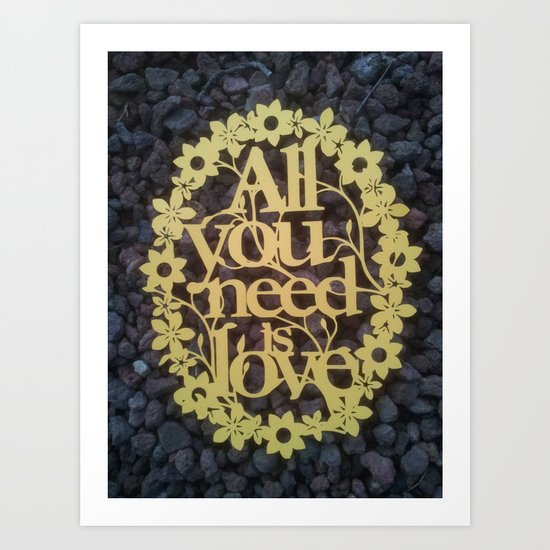 """Paper cut- """"All you need is love"""" wall decor Art Print"""