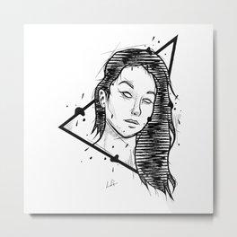 Girl Handmade Drawing, Made in pencil and ink, Tattoo Sketch, Tattoo Flash, Blackwork Metal Print