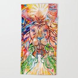 lion colorblock Beach Towel