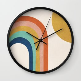 The Sun and a Rainbow Wall Clock