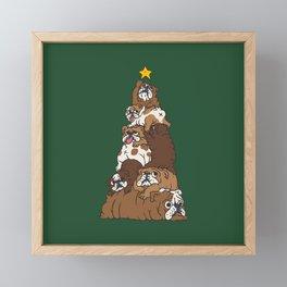 Christmas Tree English Bulldog Framed Mini Art Print