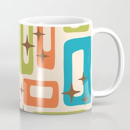 Retro Mid Century Modern Abstract Pattern 921 Orange Chartreuse Turquoise Coffee Mug