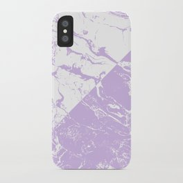 modern color block inverted white purple lavender marble pattern iPhone Case