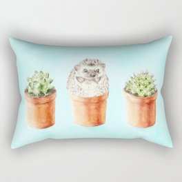 Hedgehog Watercolor Cactus Terra Cotta Pots Rectangular Pillow