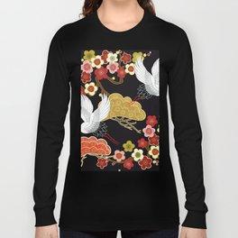 Japanese crane bird hand drawn illustration pattern on dark background.  Long Sleeve T-shirt