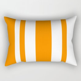 Mixed Vertical Stripes - White and Orange Rectangular Pillow