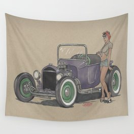 T-bucket Girl Wall Tapestry