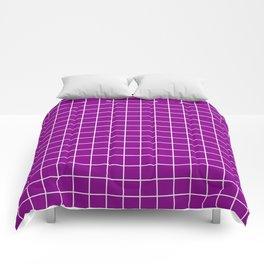 Dark magenta - violet color - White Lines Grid Pattern Comforters