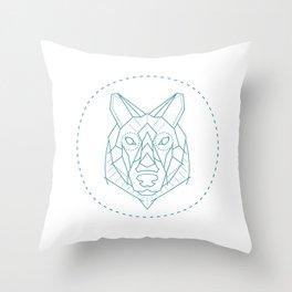 Geometric Blue Wolf Throw Pillow