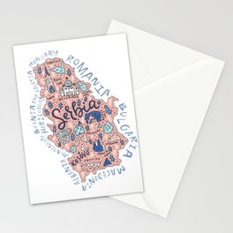 Map of Serbia Stationery Cards