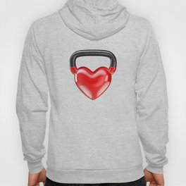 Kettlebell heart vinyl / 3D render of heavy heart shaped kettlebell Hoody
