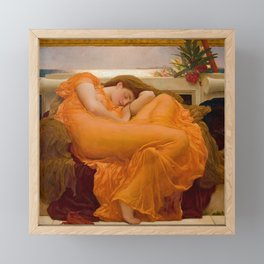 Flaming June Oil Painting by Frederic Lord Leighton Framed Mini Art Print