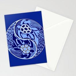 Yin Yang Marine Life Sign Classic Blue Monochrome Stationery Cards