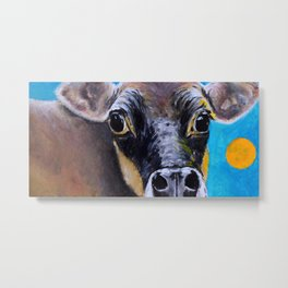 Moon: The Eyes of a Jersey Cow Metal Print