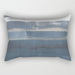Blue and White Minimalist Abstract Landscape Rectangular Pillow