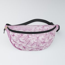 Pink butterflies in heart shape and texture Fanny Pack