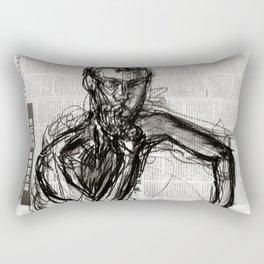 Instinctive - Charcoal on Newspaper Figure Drawing Rectangular Pillow