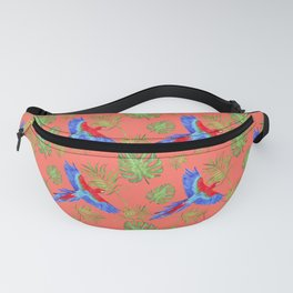 tropical pattern parrot macaw living coral Fanny Pack
