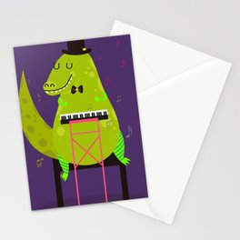 Dino pianist Stationery Cards