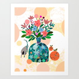 Still Life with Dog and Tangerines Art Print