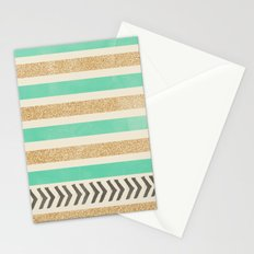 MINT AND GOLD STRIPES AND ARROWS Stationery Cards