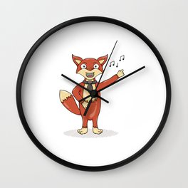 Red fox singing song with black tie. Wall Clock