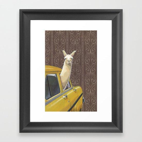 Taxi Llama Framed Art Print