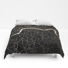London Black on Gold Street Map II Comforters