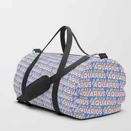 Aquarius Trendy Rainbow Text Pattern (Blue) Duffle Bag