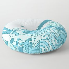 Moby Dick Illustration Floor Pillow