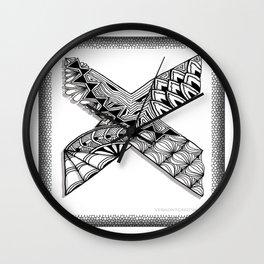 Zentangle X Monogram Alphabet Initial Wall Clock