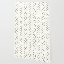 Moroccan Diamond Stripe in Black and White Wallpaper