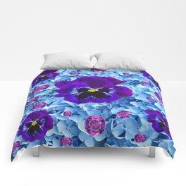 HYDRANGEAS FLORAL & PURPLE PANSIES AMETHYST GEMS Comforters