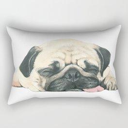 Nap Pug, Dog illustration original painting print Rectangular Pillow