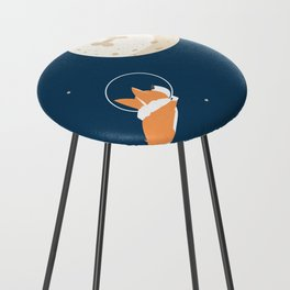 Fly to the moon _ navy blue version Counter Stool